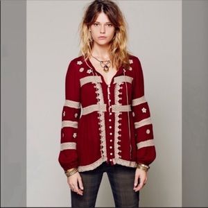 Free People maroon peasant top with beige accent M